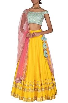 Yellow & Aqua Blue Embroidered Lehenga Set by Megha & Jigar