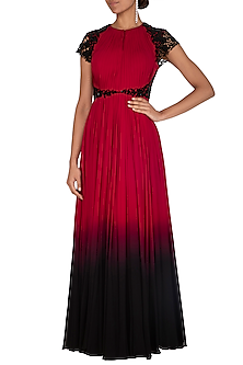 Maroon & Black Embroidered Gown by Megha & Jigar
