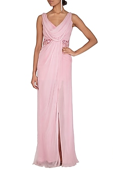 Pink Embroidered Cowl Neck Gown by Megha & Jigar