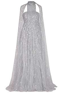 Grey Sequins Embroidered Gown by Megha & Jigar