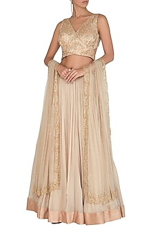 Gold Embroidered Lehenga Set by Megha & Jigar