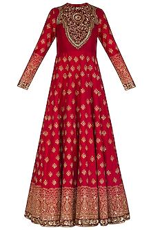 Maroon Embroidered Anarkali With Peach Dupatta & Belt by Megha & Jigar