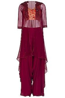 Orange Embroidered Crop Top With Wine Jacket & Pants by Megha & Jigar