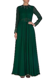 Green Embroidered Jacket With Sharara Pants by Megha & Jigar