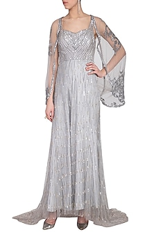 Grey embroidered gown by Megha & Jigar