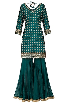 Peacock green embroidered gharara set