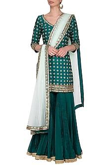 Peacock green embroidered gharara set by Megha & Jigar
