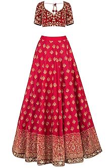 Maroon embroidered lehenga set