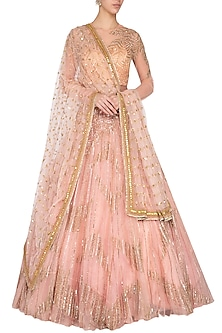 Peach embroidered lehenga set by Megha & Jigar