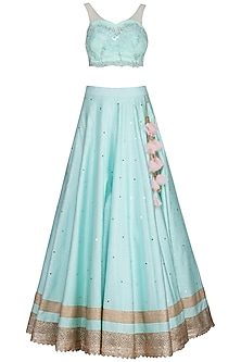 Aqua embroidered lehenga set by Megha & Jigar