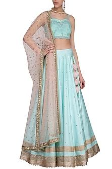 Aqua embroidered lehenga set by Megha & Jigar