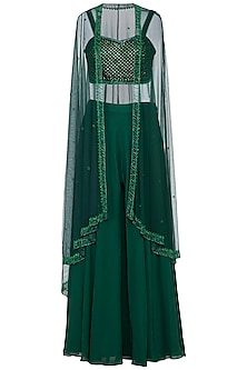 Green embroidered bustier with sharara pants and cape
