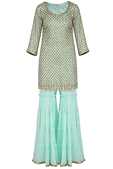 Sea green embroidered gharara set by Megha & Jigar