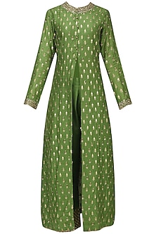 Mehandi Green Sequins Work Kurta Set by Megha & Jigar