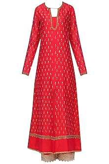Red and Mint Sequins Work Kurta Set