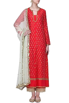Red and Mint Sequins Work Kurta Set by Megha & Jigar