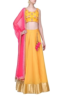 Mustard and Pink Embroidered Lehenga Set by Megha & Jigar