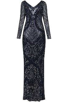Navy Embroidered Straight Gown