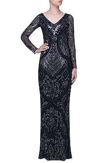 Navy Embroidered Straight Gown by Megha & Jigar