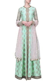 Aqua and Pink Embroidered Anarkali Set by Megha & Jigar