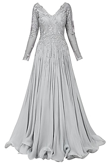 Grey Embroidered Flared Gown by Megha & Jigar