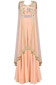 Peach Bustier with Sharara Pants and Cape