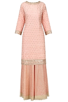 Light Pink Sequins Embroidered Sharara Set