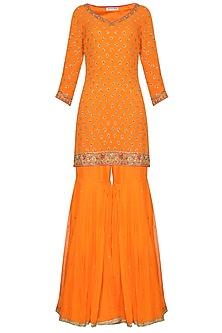Orange Embroidered Kurta with Gharara Pants Set