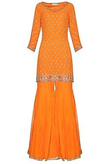 Orange Embroidered Kurta with Gharara Pants Set by Megha & Jigar