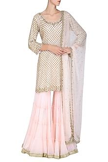 Baby Pink Embroidered Kurta with Gharara Pants Set by Megha & Jigar