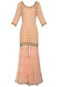 Peach Embroidered Kurta with Gharara Pants Set by Megha & Jigar