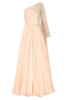 Peach Embroidered One Shoulder Drape Gown