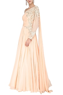 Peach Embroidered One Shoulder Drape Gown by Megha & Jigar