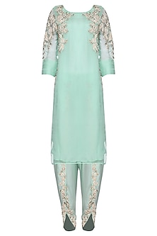Aqua Blue Embroidered Kurta with Dhoti Pants Set