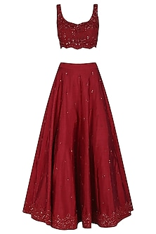 Deep Red Embroidered Lehenga Set by Megha & Jigar
