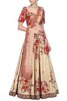 Maroon and Beige Embroidered Lehenga Set by Megha & Jigar