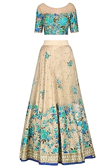 Peacock Blue and Beige Embroidered Lehenga Set by Megha & Jigar