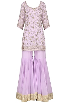 Lavender Embroidered Kurta with Gharara Pants Set