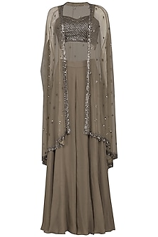Brown Embroidered Bustier with Sharara Pants and Cape