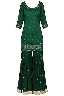 Dark Green Embroidered Kurta with Gharara Pants Set