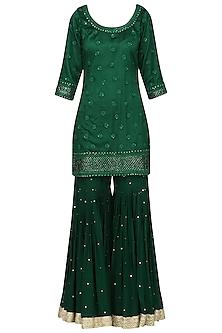 Dark Green Embroidered Kurta with Gharara Pants Set by Megha & Jigar