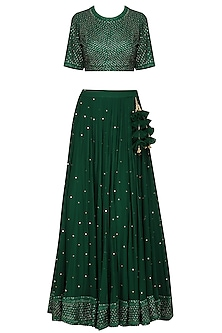 Dark Green Embroidered Lehenga Set by Megha & Jigar