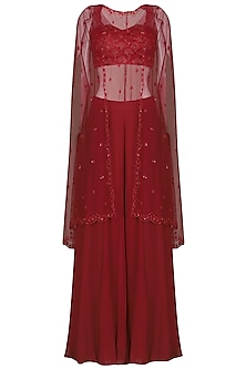 Deep Red Embroidered Bustier with Sharara Pants and Cape by Megha & Jigar