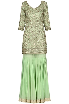 Fern Green Embroidered Kurta with Gharara Pants Set by Megha & Jigar