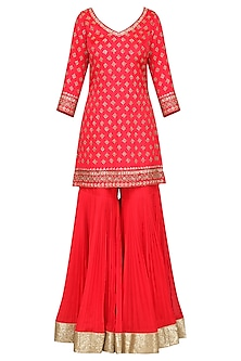 Coral Embroidered Kurta with Gharara Pants Set