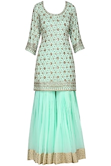 Aqua Blue Embroidered Kurta with Gharara Pants Set