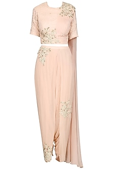 Baby Pink Embroidered Drape Saree