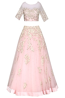 Baby Pink Embroidered Lehenga Set by Megha & Jigar