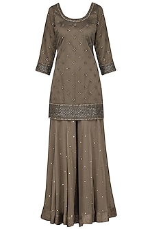 Brown Embroidered Kurta with Gharara Pants Set