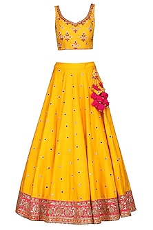 Yellow and Hot Pink Embroidered Lehenga Set by Megha & Jigar
